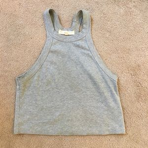 Urban Outfitters Grey Ribbed Crop Tank Top M